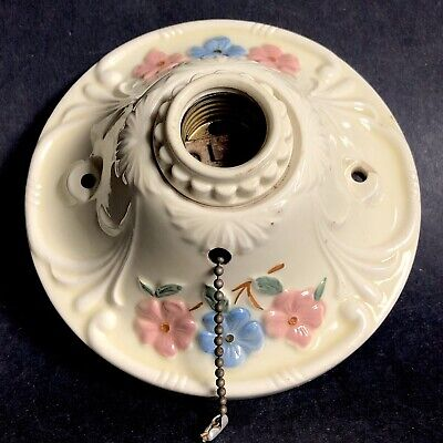Porcelain Flowers Light Fixture Vtg Wall Ceiling Ceramic Deco Chain Pink Blue 6""