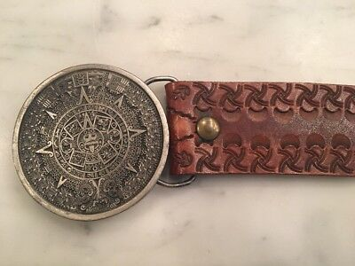Vintage BERGAMOT BELT BUCKLE Aztec Monkey Intricate Hand Tooled Leather 1974