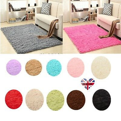 UK Large Small Shaggy Floor Rugs Plain Soft Sparkle Area Mat Thick Pile Glitter