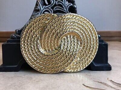 Retro 1980s Gold Tone Woven Circles Belt Buckle ~ Vintage Nan Lewis
