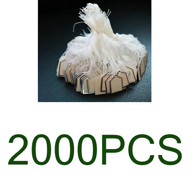2000PCS Small Merchandise Price Tags White Blank w/Strings Strung 24x18mm