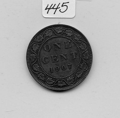 Canada 1907H Large Cent (#445) XF Cleaned & Stain.