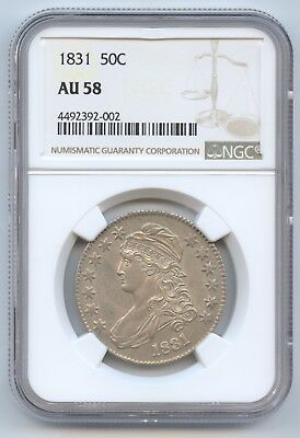 1831 Bust Half NGC AU58 (#9546) Decent Luster and Really Difficult to Find Any