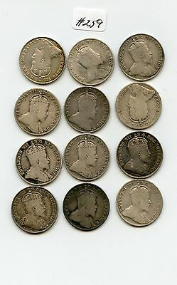 12 Pc. Edward Canada 10C (#259) Complete Set 1902-1910. Good to Very Fine. Some