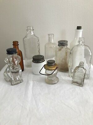 Lot of 10 Antique Vintage Small Glass Bottles - Clear Milk Glass Brown