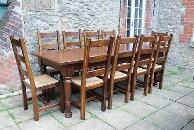 Rare 8ft Vintage Solid French Elm  Farmhouse Dining Table & 10 Elm Chairs