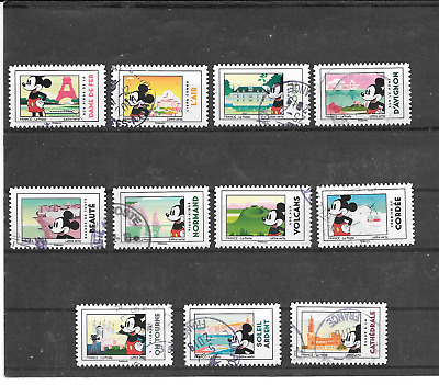 France 2018.MICKEY and La France.lot 11 of Stamp Self-Adhesive Postmarks Round