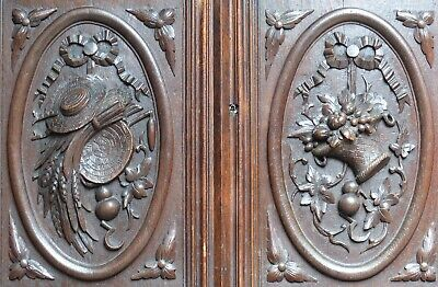 19TH French Antique Architectural Pair Carved Salvaged Wood Door Panel medallion