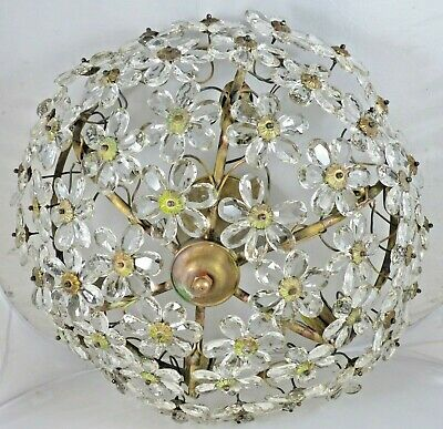 "20"" Large Vintage French Flower Prisms Maison Bagues Antique Chandelier Ceiling"