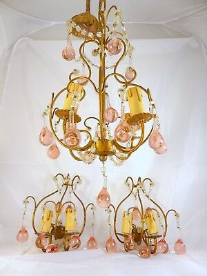 RARE Vintage Crystal Macaroni Beaded Chandelier + Pair Sconces Murano Pink Drops