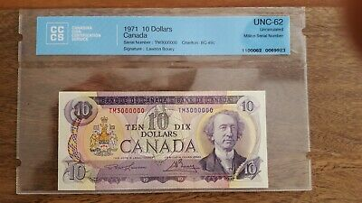 1971 $10 Dollars Bank of Canada 3 Million number  Lawson Bouey BC-49c UNC-62