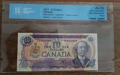 1971 $10 Bank of Canada 6 Million Number Banknote Lawson Bouey BC-49c AU-55