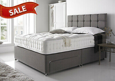 Grey - Suede - Divan Bed  - Under Bed Storage -4Ft6, 5Ft, 6Ft  Cubed Headboard