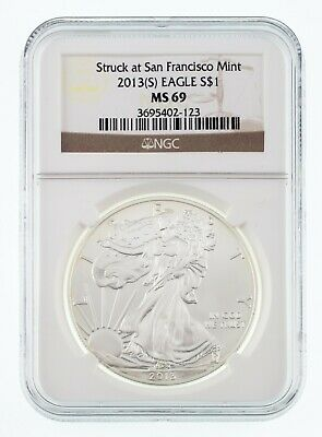 2013-(S) $1 Silver American Eagle Graded by NGC as MS-69