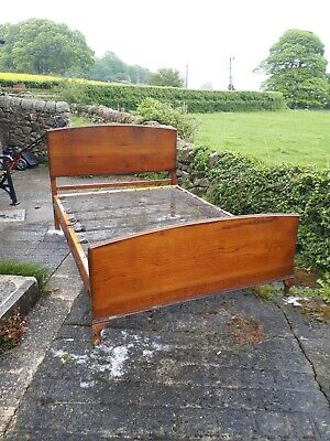 Oak Bed with complete spring base, circa 1940's