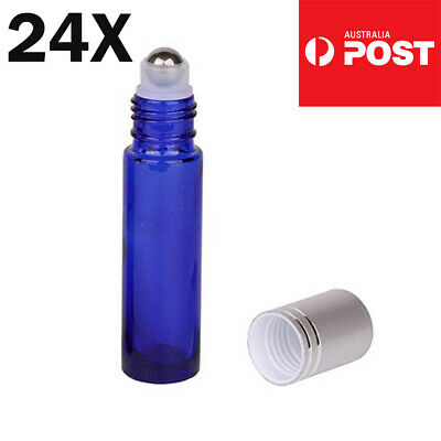 24 Packs THICK Glass Roller Bottles Steel Big Roll On Ball for Essential Oils