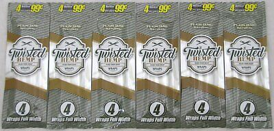 6 x Twisted Hemp Wraps PLAIN JANE Rolling Papers (6 PACKS/ 24 WRAPS TOTAL)