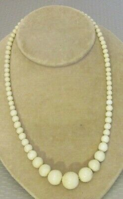 "antique genuine natural sea WHITE CORAL BEAD NECKLACE 18"" graduated strand 32g"