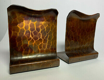 Vtg Avon Coppersmith Hammered Copper Bookends Arts & Crafts Roycroft Era