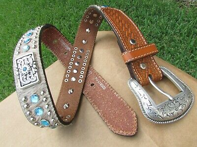 Nocona Cow Hair & Blue Rhinestones Studs Brown Leather Western Belt Kids Size 2