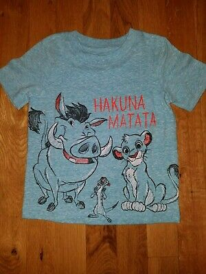 cbbb6b06 Disney The Lion King HAKUNA MATATA Pumbaa Timon Graphic Boys Shirt 24M NEW