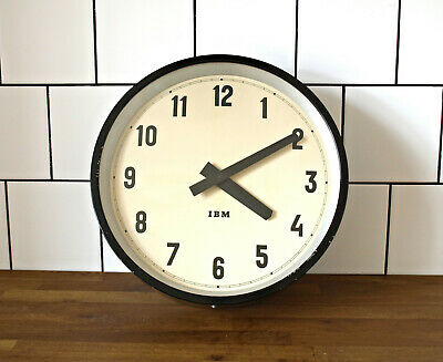 battery operated IBM wall clock - metal vintage industrial loft modernist