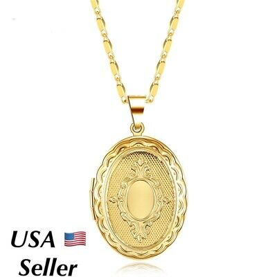 """18k Gold Plated Oval Round Photo Picture Locket Pendant Necklace 18"""" N146"""