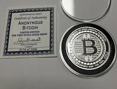 BITCOIN 1 OZ  999 Silver Bitcoin Commemorative Coin Anonymous Mint