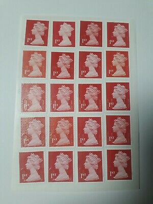 20  Red Unfranked 1st First Class Security Stamps - Peel and Stick - Gummed