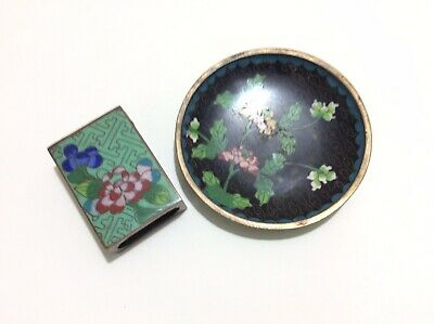 Vintage Hand Painted Enamel Match Box Holder Flowers on Brass with Matching Tray