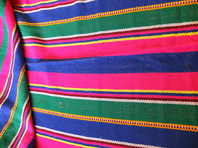 "table runner 72""l x 27""w magenta blue green stripes end knots yarn ball fringe"