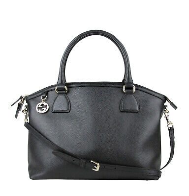 ccf2f905e5b0 Gucci GG Charm Black Leather Large Convertible Dome Bag With Detachable  Strap