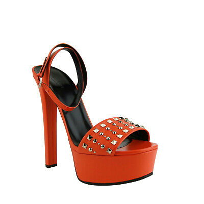 e09257660 Gucci Women's Orange Leather Platform Heels with Silver Studs (G 37.5 / US  7.5)