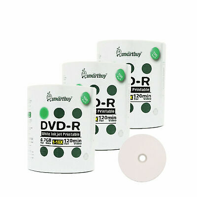 300 Smartbuy 16X DVD-R 4.7GB White Inkjet Printable Blank Recording Disc