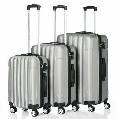 "New 20/24/28"" 3PCS Luggage Travel Bag ABS Trolley Hard Shell Suitcase w/TSA lock"