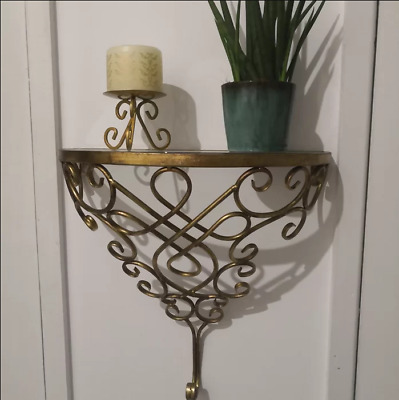 Vintage Console Table Gold Glass Furniture Metal Hallway Furniture Half Moon End