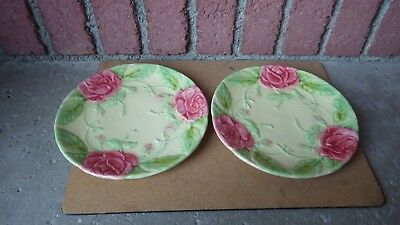Pair Of Vintage Faience D'art French Majolica Plates Roses France Hand Painted