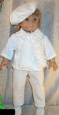 """Doll Clothes Made 2 Fit American Girl 18"""" inch White Jacket Pants Hat Scarf 4pcs"""
