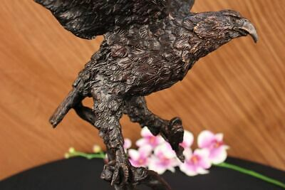 "23"" Vintage 100% Genuine Bronze copper fish eagle hawk bird ruyi Statues Figure"