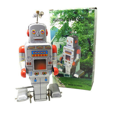 Retro Robot Style Wind-up Clockwork Tin Toy Children Collection Decoration Gift