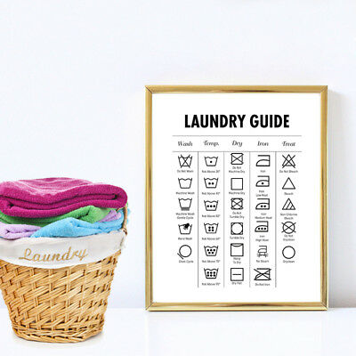 Laundry Guide Modern Wall Art Canvas Print For Laundry Room Minimalist Decor