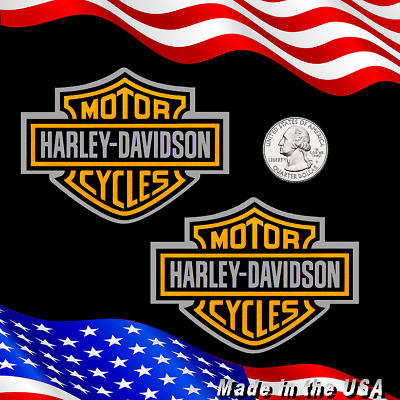 "Two (2) Sparkling Metallic Gold & Chrome Harley Davidson Stickers  3"" x 2.3"" ##"