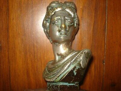 VINTAGE 1960's BRASS/BRONZE SILVER PLATED BUST GREEK GOD ON MARBLE BASE