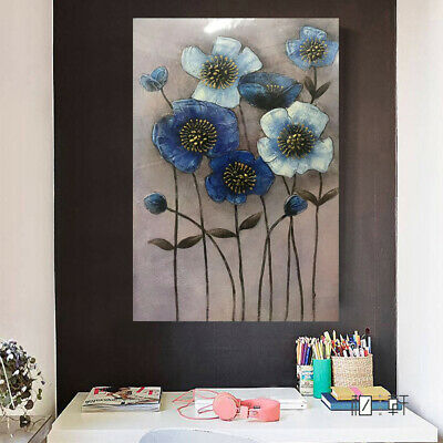 Hand Painted Abstract Oil Painting Blue Flowers Stretched Canvas Wall Art Framed