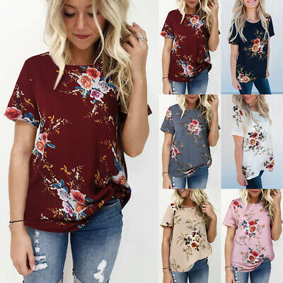 Sexy Women Summer Floral Short Sleeve Casual T Shirt Top Blouse Ladies Loose Tee
