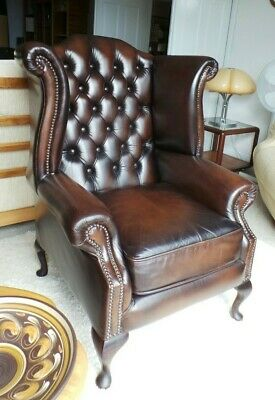 CHESTERFIELD ANTIQUE BROWN LEATHER WING / HIGH BACK CHAIR  - courier option
