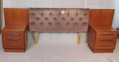 G Plan Fresco Mid Century Headboard Plus Pair of Bedside Cabinets COURIER OPTION