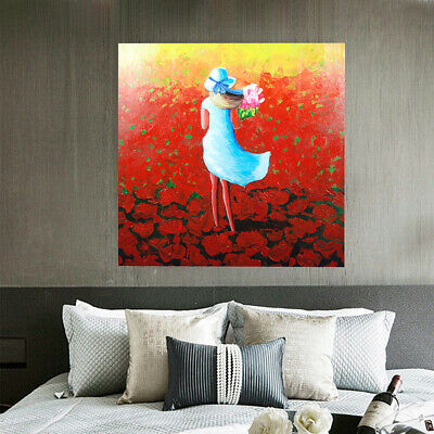 Hand Painted Oil Painting Framed Canvas Modern Art Wall Home Decor Young Girl