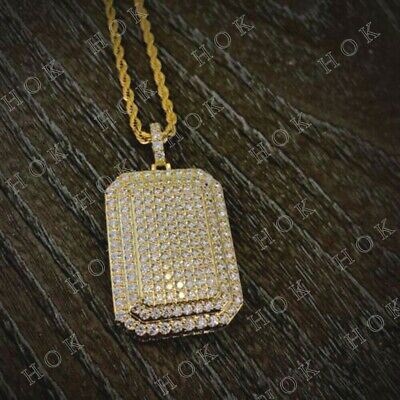 2Ct Round Cut Diamond Solid 14k Yellow Gold Over Big Bail Dog Tag Charm Pendant