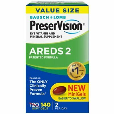 Bausch Lomb PreserVision AREDS 2 Formula 140 Soft Gels NEW-SEALED BOX Exp. 9/20